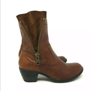 BORN LEATHER SUEDE DOUBLE ZIPPER WESTERN BOOTS